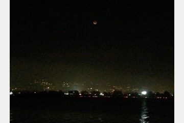 Long shot of the blood moon