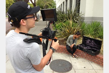 Shooting with the DSLR and the shoulder rig.