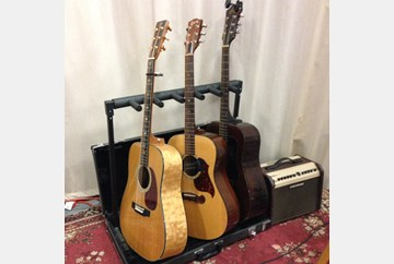 Just three of many guitars for the big show.