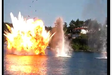 A small fishing boat blow up because it was hit by a small bomb that was dropped from an Air Force plain by acxident