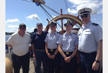 Touring the Barque Eagle at Penn's Landing Philadelphia Tall Ship festival with two other Aux and two very nice soon to be second year cadet.
