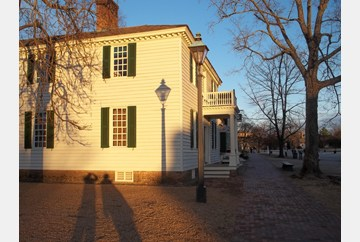 Shadows on a winter's walk in Colonial Williamsburg.