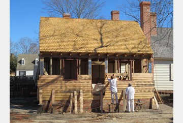 Almost everyday a little more of the siding has been added to the Tinsmith Shop.